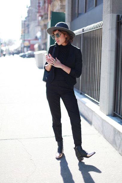trop rouge blogger boyish black jacket black pants jacket top pants shoes Gender Neutral no gender equality