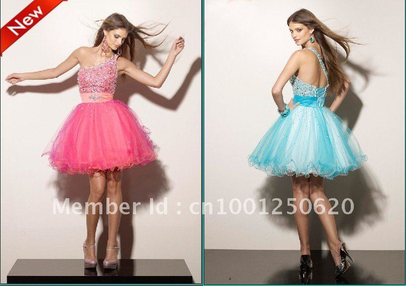 2013 Free Shipping Mini Tulle Ball Gown One Shoulder Beading Sparkle Homecoming Dresses-in Homecoming Dresses from Apparel & Accessories on Aliexpress.com
