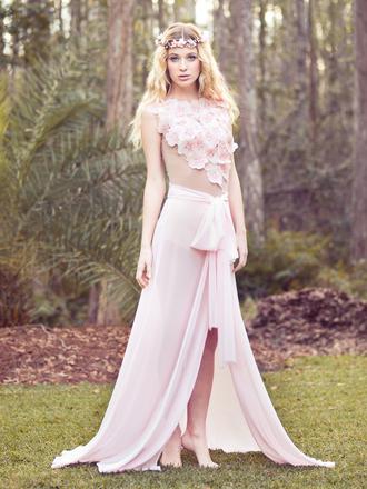 dress pink maxi dress two-piece pink flowers dreamy pastel pink