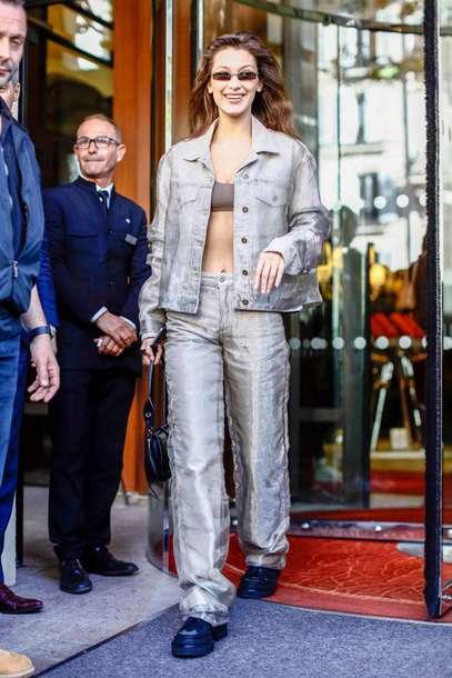 jacket bella hadid model off-duty bralette fashion week celebrity pants two-piece