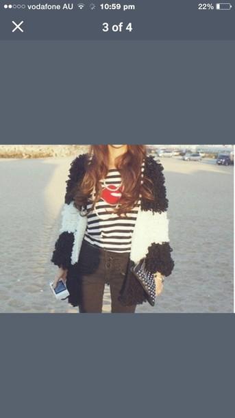 jacket black and white furry