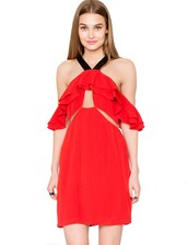 dress,pixie market,pixiemarket,cute,cute dress,red,red dress,date outfit,trendy,summer,summer dress,halter neck,halter top,tiered,tiered skirt,ruffle,affordable,affordable clothing,summer outfits
