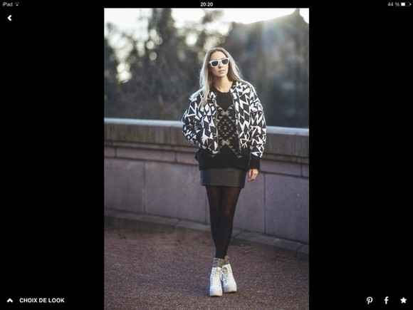 geometric jacket geometric print black ans white