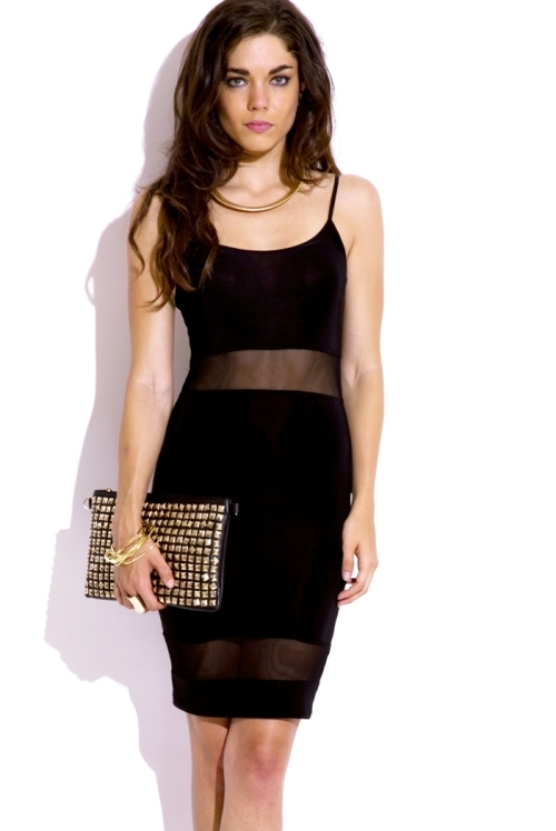 Lethalbeauty ? black mesh inset mini bodycon dress
