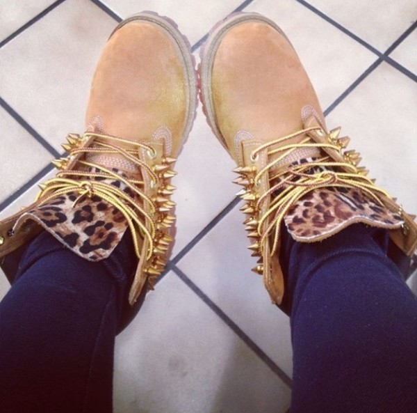 shoes leopard timberlands spiked timberlands