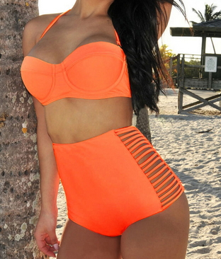 High-waisted Slits Bikini
