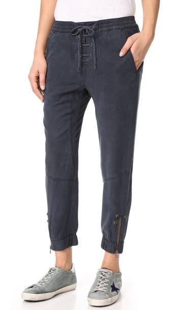 Pam & Gela Lace Up Closure Pants - Graphite