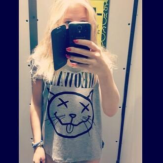 t-shirt meowana cats nirvana t-shirt cute grey