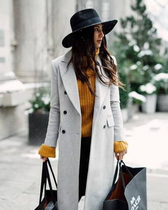coat tumblr grey coat mustard sweater yellow sweater felt hat hat black hat pants black pants