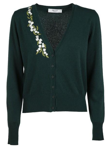 cardigan cardigan embroidered green sweater