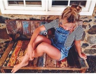 jumpsuit dungarees dungarees denim retro style striped shirt summer shorts