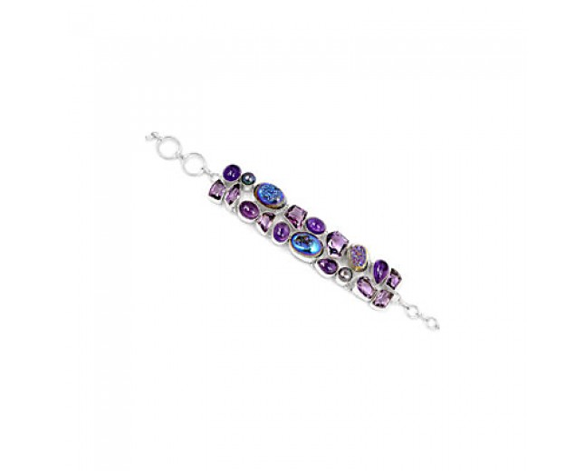 Unique 925 sterling silver Titanum Druzy Amethyst And Pearl Gemstone Cluster Bracelet