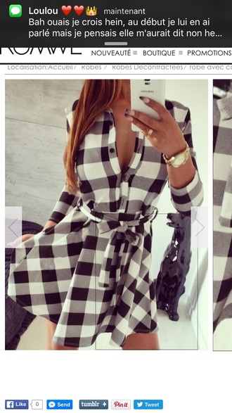 dress black and white black and white dress carreau casual dress style lookbook