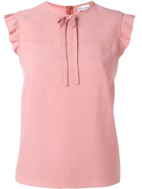 blouse ruffle women purple pink top
