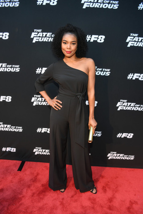 jumpsuit pants one shoulder gabrielle union black top black jumpsuit red carpet