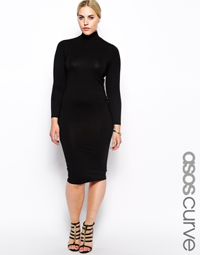 ASOS Curve | ASOS CURVE Exclusive Bodycon Dress With Funnel Neck in Longer Length at ASOS