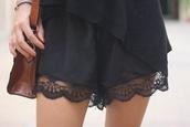 shorts,lace black short cute