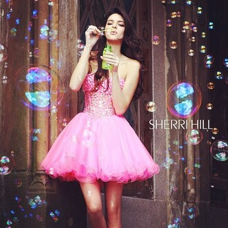 dress sherri hill kendall jenner pink studded puffy layered