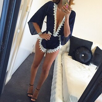 jumpsuit outfit made romper top blouse navy lace dress dress