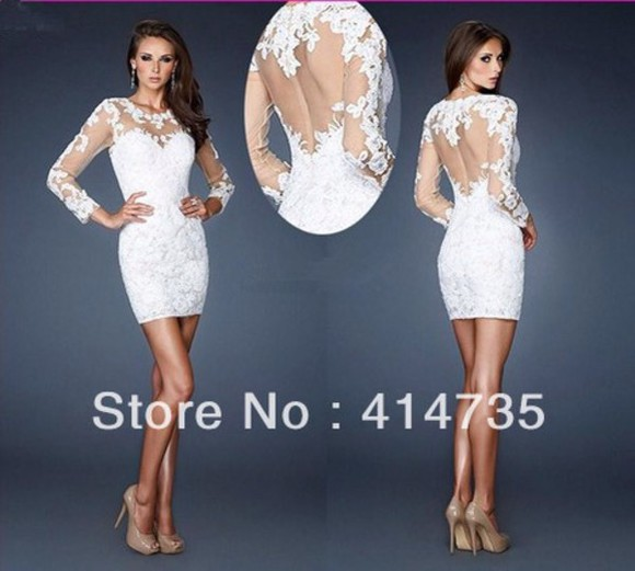 high heels sheer popular new 2014 white homecoming dress long sleeve lace dress pretty dress hot