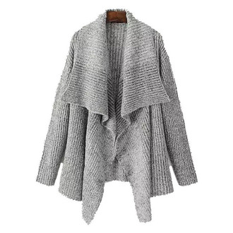 cardigan wrap brenda-shop sweater knitwear knitted cardigan grey office outfits casual open front no button cute cozy cozy sweater warm winter outfits fall outfits