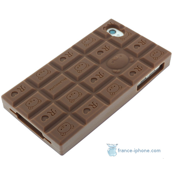 coque iphone 4/4S chocolat silicone - Coque iPhone France