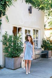 sequins and stripes,blogger,dress,bag,blue dress,one shoulder dress,one shoulder,handbag,summer dress