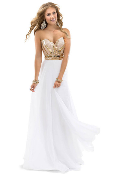 dress prom white beautiful debs gold white and gold