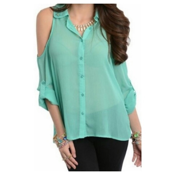 blouse mint sheer top cut cute trendy