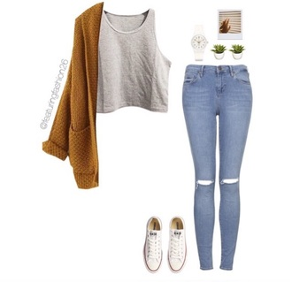 cardigan jeans rippedjeans mustard crop tops top shoes converse hipster vintage
