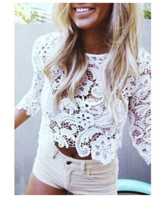 top girl girly girly wishlist lace white lace top crochet fashion summer style clothes trendy beach stylish rose wholesale-jan