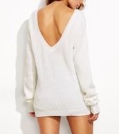sweater,girly,girly wishlist,girl,white,v neck,backless,white sweater,knitted sweater