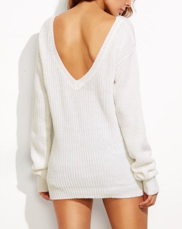 sweater girly girly wishlist girl white v neck backless white sweater knitted sweater