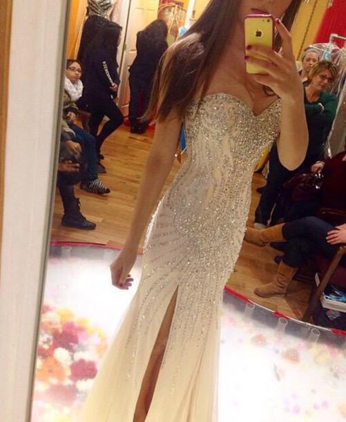 58170b33d3 dress prom dress long prom dress sequin dress nude dress bling champagne  slit dress diamonte dress