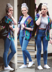 sweater,perrie edwards,little mix,jeans,shirt,top,coat,pants,shoes,kimono,blouse,high waisted jeans