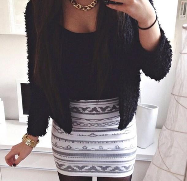 skirt jupe black and white skirt imprim?
