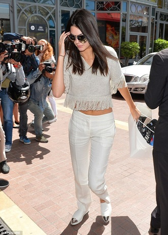 kendall jenner fringes crop tops three-quarter sleeves shoes