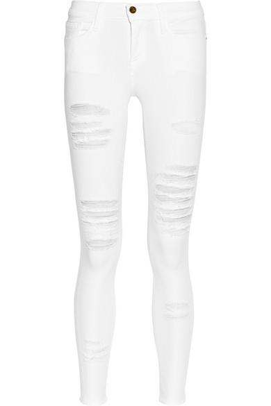 Denim   Le Skinny de Jeanne distressed mid-rise skinny jeans   NET ...