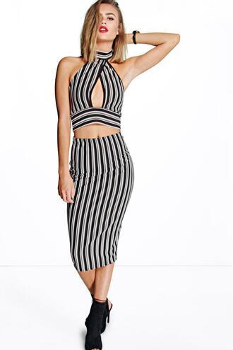 skirt matching set stripes monochrome crop tops bodycon