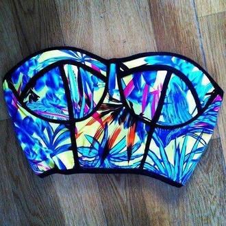 top floral neon crop bandeau swimwear boho chic bikini top