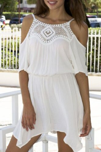 dress summer dress white lace spring cute pretty off the shoulder embroidered fashion girly casual