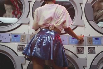 skirt shiny shinny skirt matalic silver short skirt american apparel retro