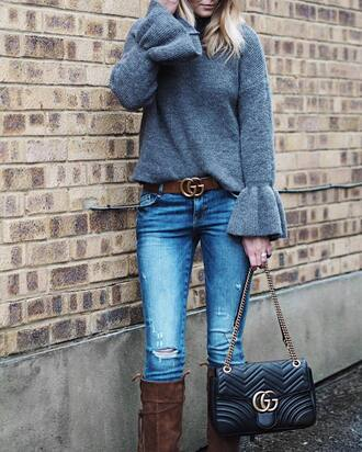 sweater tumblr bell sleeves bell sleeve sweater grey sweater belt gucci gucci belt logo belt jeans denim blue jeans bag black bag gucci bag chain bag boots brown boots knee high boots