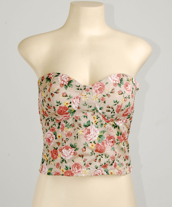 Brown strapless floral crop pad cup bustier bra corset bralet bandeau top s