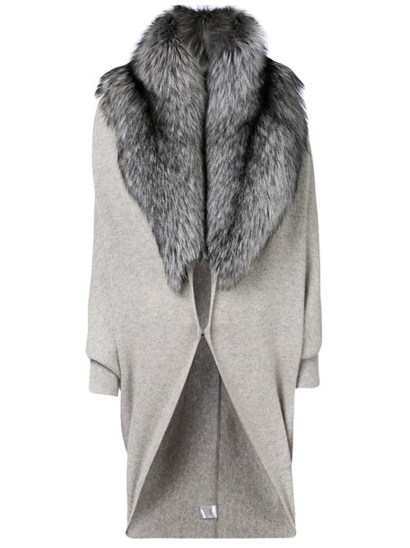 N.Peal cape fur fox women grey top
