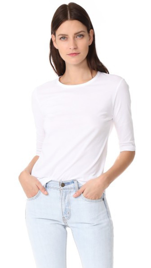 TSE Cashmere Elbow Sleeve Tee in white
