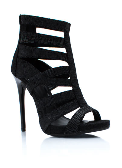 GJ | Snake Charmer Strappy Heels $41.60 in BLACK NUDE WINE - Dark Angel | GoJane.com