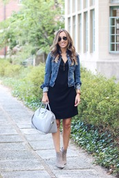 lilly's style,blogger,jacket,dress,shoes,bag,jewels,sunglasses,black dress,denim jacket,grey bag,mini dress,suede,suede boots,ankle boots