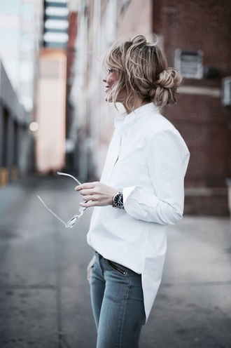 blouse jewels shirt asymmetric shirt white shirt jeans grey jeans sunglasses transparent hairstyles asymmetrical top