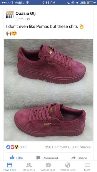 shoes burgundy puma sneakers rihanna style puma creepers